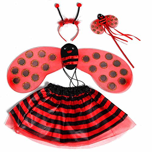 (Lujuny Fairy Bug Wing Costume Set - Cute Wings, Tutu Dress, Wand and Headband (Red Ladybird))