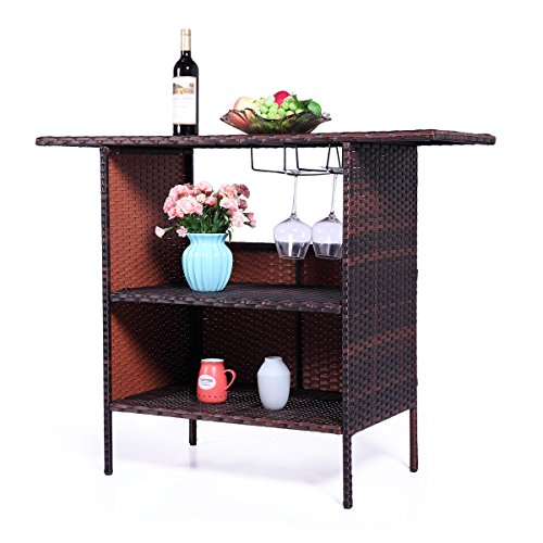 Brown Rattan Coffee Table Outdoor: LAZYMOON Outdoor Square Brown Rattan Wicker Bar Counter