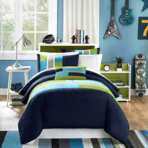 DP 4pc Girls Navy Blue Lime Green Maverick Comforter Full Queen Set, Contemporary Geometric Themed Teen, Polyester, Sky Blue Grey Color Abstract Color Block Pattern Solid Color Kids Bedding ()