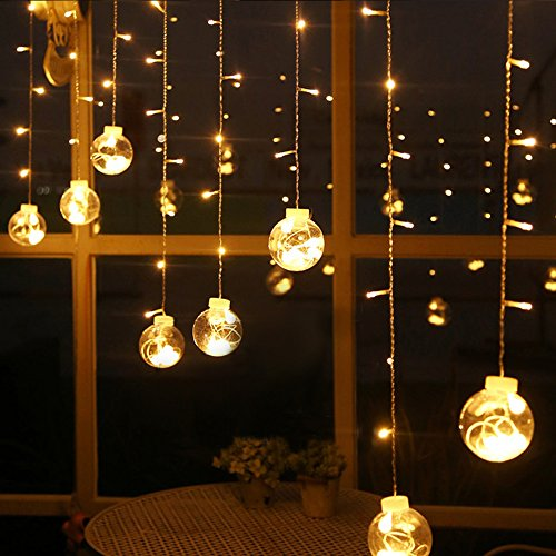 Curtain Lights, AGPtek 120LED 9.84ft 8 Modes Window Ball Linkable String Light LED Wedding Lights for Garden/Wedding/Party/Window Decorations/Home - Warm (Large Bulb String Lights)
