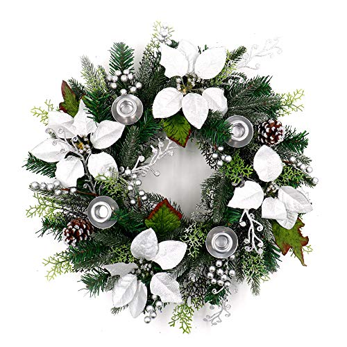 (ALEKO CHDW20WH Decorative Holiday Christmas Advent Wreath with 4 Candle Holders Green and Silver)