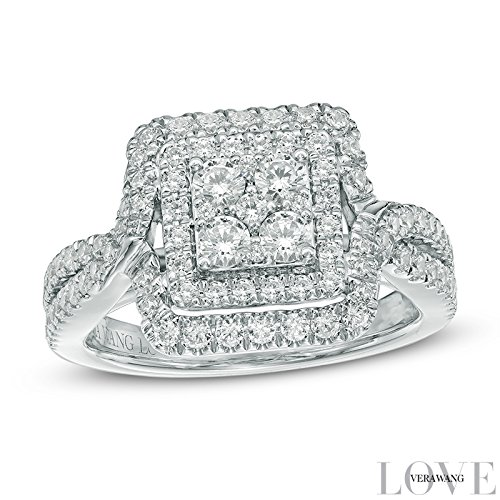 Vera Wang LOVE Collection 1 CT. T.W. Quad Diamond Double Frame Engagement Ring in 14K White Gold Jewelry Size 4-12