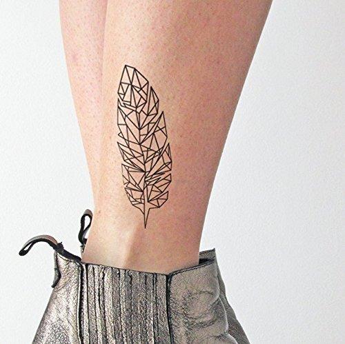 Pluma geométrica - Tatuaje temporal (conjunto de 2): Amazon.es ...