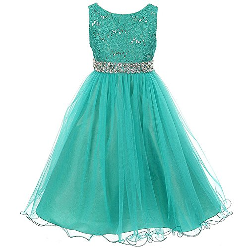 Big Girls Sleeveless Dress Glitters Sequined Bodice Double Layer Tulle Skirt Rhinestones Sash Flower Girl Dress Jade - Size 14