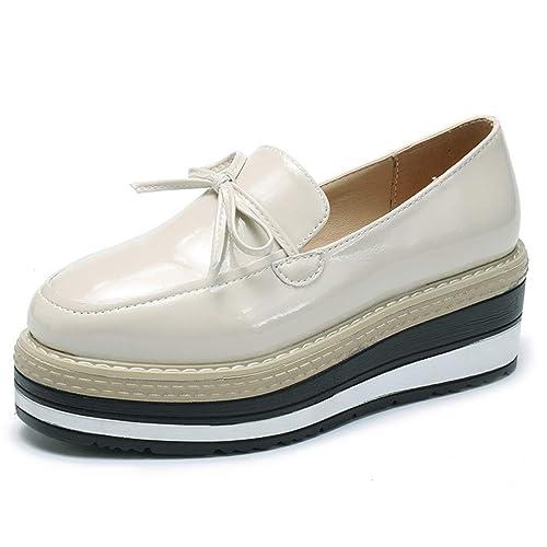 Plataforma de Las Mujeres Oxfords Zapatos Bowtie Brogue PU Charol Enredaderas de Cuero Punta Redonda Señoras Sólidas Calzado Informal: Amazon.es: Zapatos y ...