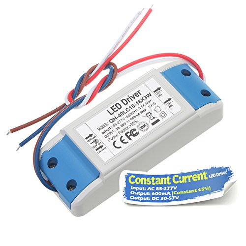 Chanzon LED Driver 600mA (Constant Current Output) 30V-57V (In: 85-277V AC-DC) (10-18) x3W 20W 30W 36W 45W 54W Power Supply 600 mA Lighting Transformer Drivers for High Power COB Chips (Plastic Case)