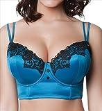 Parfait by Affinitas Danielle 8517 Longline Bralette Peacock Blue w/ Black (30G)
