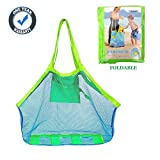 COOLGOEU XL Large Mesh Beach Tote Bag for Outdoor Swim Pool Childrens and Kids Toys Travel Towels Sand Away Organizer Storage Bags, Foldable & Lightweight (Green)