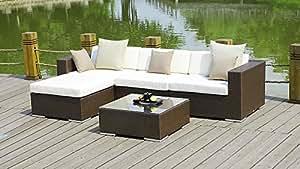 talfa Polirratán Juego de muebles de jardín mesa–Marrón