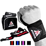 Wrist Wraps Weightlifting Bykottos + Pouch, Men and Women Wrist Support Braces for Weight Lifting - Fitness Wrist Wraps - Crossfit Wrist Wraps (red/black)