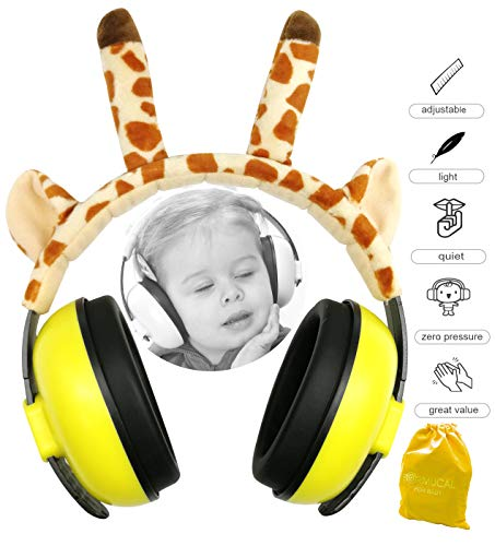 Baby Ear Protection for Babies for 3 Months to 2+ Years Noise Cancelling Ear Muffs for Infant and Toddlers with Giraffe Ear. (Yellow)