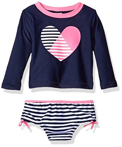 Baby Girls Rash Guard Top (Osh Kosh Baby Girls' Heart Long Sleeve Rash Guard Set, Navy, 12 Months)