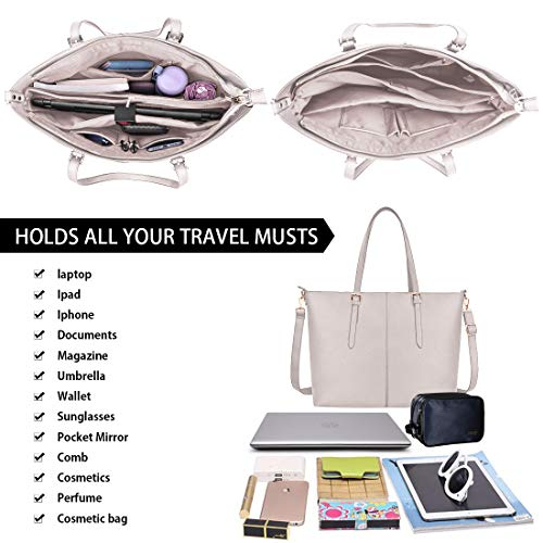 Laptop Tote Bag for Women 15.6 Inch Waterproof Lightweight Leather Computer Laptop Bag Women Business Office Work Bag Briefcase Large Travel Handbag Shoulder Bag Beige