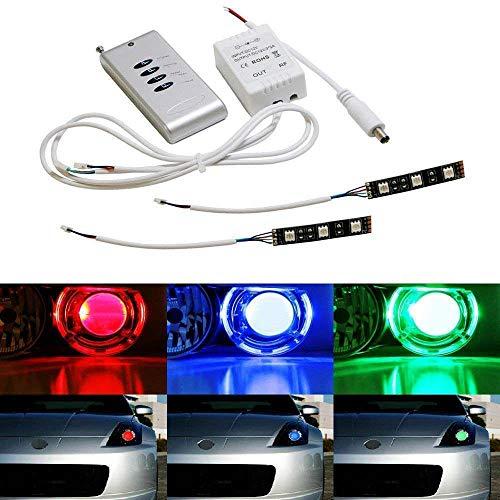iJDMTOY (2) 3-SMD-5050 RGB LED Demon Eye w/Remote Control For Car Motorcycle Projector Headlight Demon Eyes Retrofit