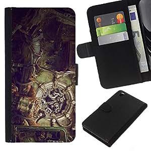 """A-type (Ilustración Steampunk"""") Colorida Impresión Funda Cuero Monedero Caja Bolsa Cubierta Caja Piel Card Slots Para HTC DESIRE 816"""