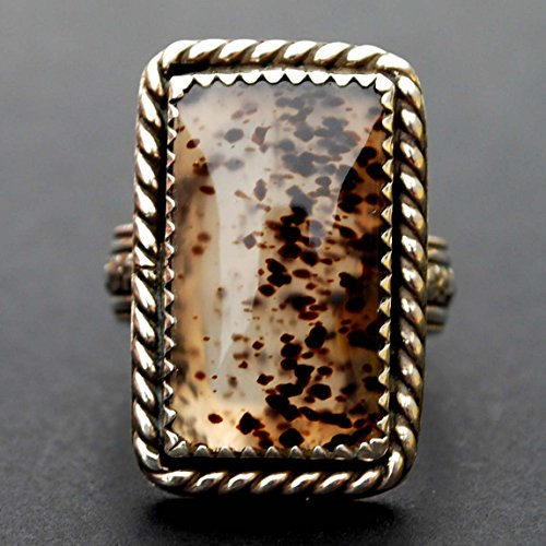 Gorgeous Montana Moss Agate 925 Sterling Silver Ring Handmade NEW - Beautiful Floral Design Shank