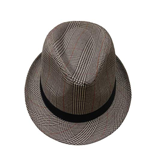 (Leisure New Plaid Fedora Hats Casual Chapeu Fedoras with Black Ribbon Panama Caps Los Hombres de Fedora Women Men)