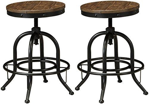 Ashley Furniture Signature Design - Pinnadel Swivel Bar Stool - Counter Height - Set of 2 - Light Brown (American Furniture Signature Store)