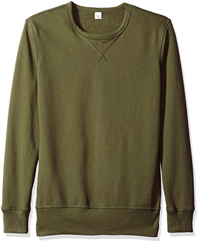 French Terry Sweatshirt (Alternative Men's Vintage Sport French Terry B-Side Reversible Crew Neck, Utility Green, S)
