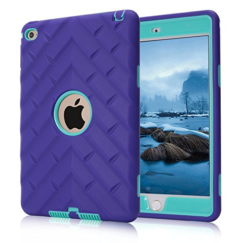 - iPad mini 4 Case, iPad mini 4 Retina Case, Easytop Tyre Pattern Anti-slip Shock-absorption Silicone Inner Bumper High Impact Resistant Hybrid Three Layer Protective Cover Case (Purple + Teal)