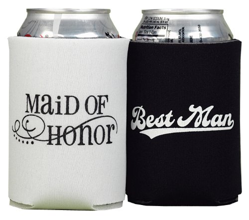 Best Man Maid Of Honor - Hortense B. Hewitt Wedding Accessories Maid of Honor and Best Man Can Coolers