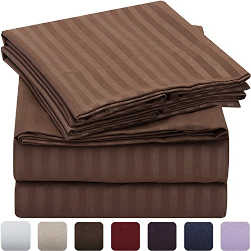 Mellanni Striped Bed Sheet Set - HIGHEST QUALITY Brushed Microfiber 1800 Bedding - Wrinkle, Fade, Stain Resistant - Hypoallergenic - 4 Piece (Full, Brown)