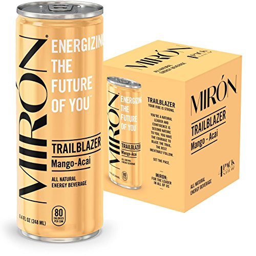 Mirón Mango Acai All Natural Sparkling Energy Beverage 8.4 Fl.Oz. Cans (Pack of 4)