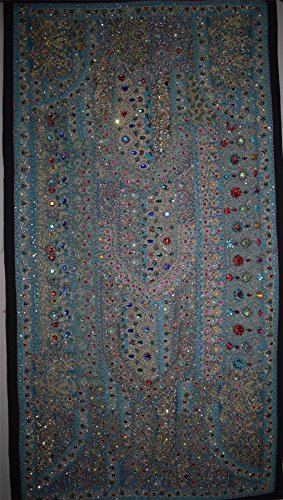 Embroidered Vintage Wall Hanging Heavy Beaded Work Bedspread Cover Tapestry Handmade Wall Art Home Decor