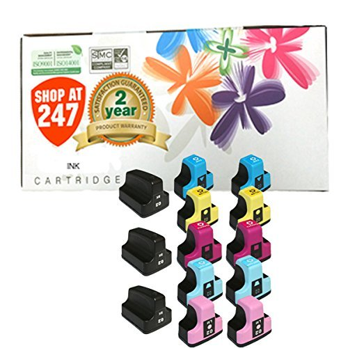 Ink Cartridge Cyan Compatible 02 (Shop At 247 ® Compatible Ink Cartridge Replacement for HP 02 (3 Black, 2 Cyan, 2 Yellow, 2 Magenta, 2 Light Cyan, 2 Light Magenta, 13-Pack))
