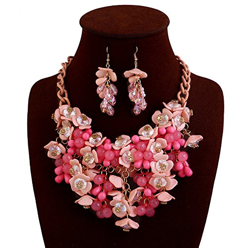 truecharms Fashion Choker Bib Necklace Multicolor Flower Crystal Collier Femme Brand Women Jewelry Statement Necklaces Collar (Pink with ()