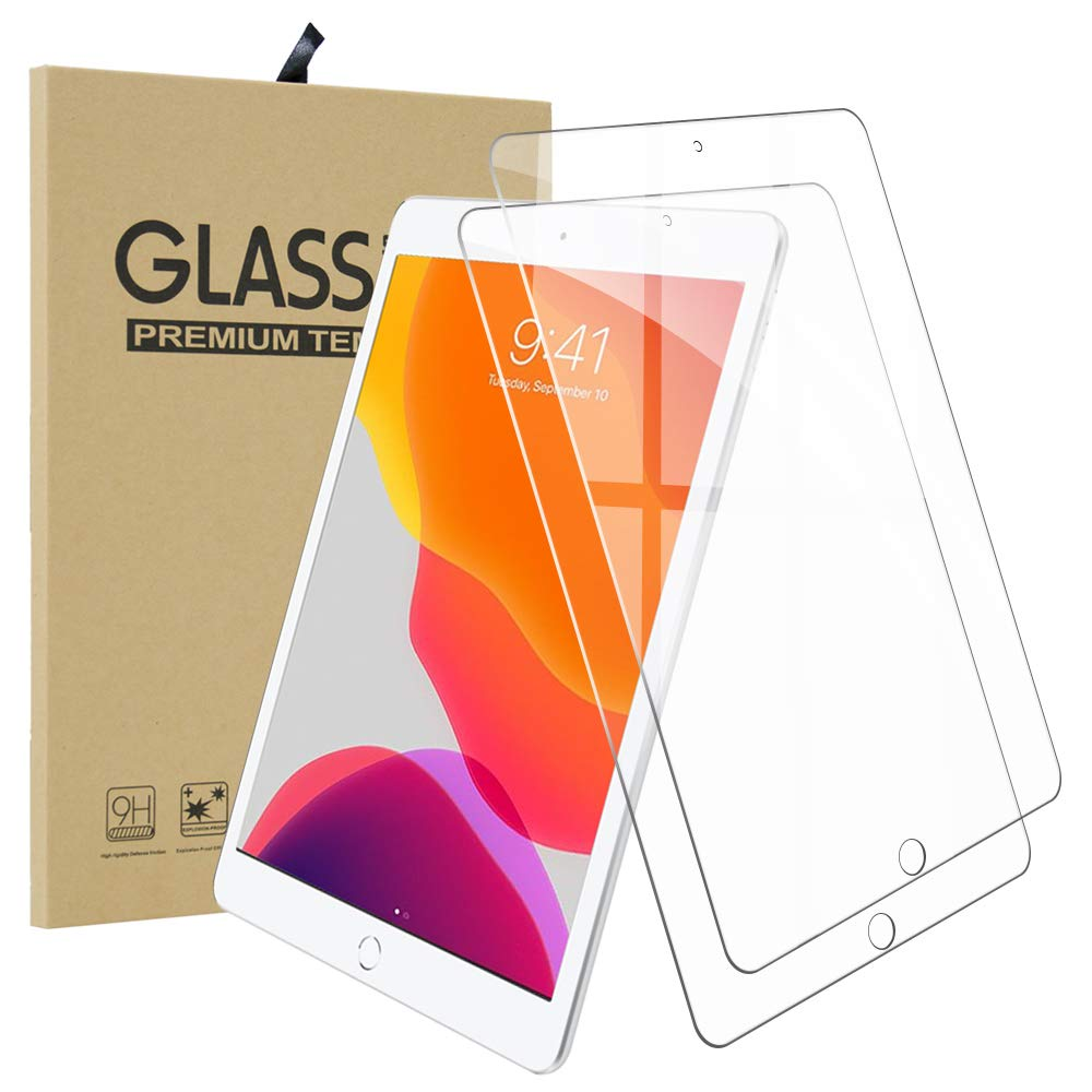 Ultra-Thin 2.5D 9H Anti Scratch Hardness Crystal HD Clear Scratch Resistant Tempered Glass Film for Apple iPad 10.2 2 Pack Qoosea for Apple iPad 10.2 Screen Protector New