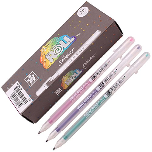 Sakura Xpgb 12-piece Gelly Roll Assorted Colors Stardust Galaxy Pen Gel Ink Bold Sparkling, Bagged Pen Set of Assorted Colors]()
