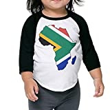 QPKMRTZTX0 Boys Girls Kids & Toddler South Africa Flag in Africa Map Long Sleeve Tees 100% Cotton