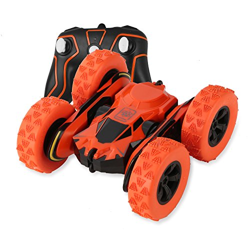 Tank Car Remote Control Toy - SZJJX Stunt RC Car, Double Sided Tumbling 2.4Ghz Remote Control Tank Vehicle,3D Deformation,Off-Road Truck RTR with 360 Degree Flips Spinning Orange