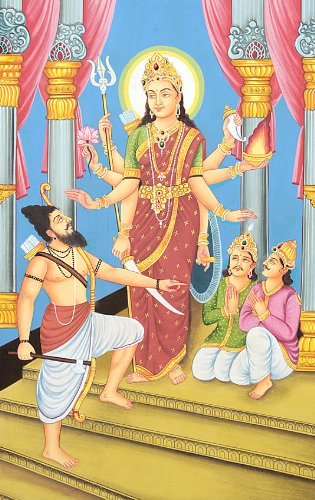 Rare Goddesses of India Series - Hingraaj Mata - Water Color Painting on Cotton Fabric