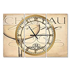 Designart French Chateau White Wine II Wall Art Design French Country 3 Panel Wall Decorative Clock - Home Decorations for Home, Living Room,Bedroom, Office Decoration Multi Panel Metal Wall Clock
