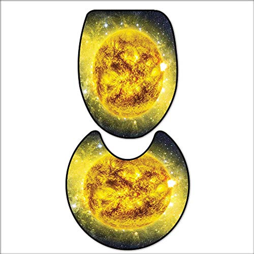 qianhehome U-Shaped Toilet Mat Panorama of Sun in Space with Luminous Effects Dynamic Center of Solar System Print Yellow Blue. Washable Non-Slip 17''x21''-D24 by qianhehome