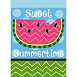 Sweet Summertime Watermelon Pink And Green Chevron 30 x 44 Large House Flag
