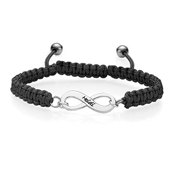 Friendship Bracelet With Infinity Symbol Pendant Personalise With