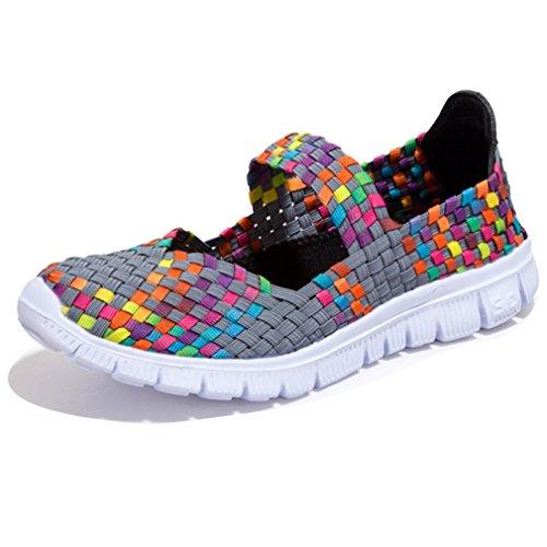 DEARWEN Women's Breathable Slip-On Walking Shoes Grey US 8