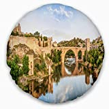 Designart CU7055-16-16-C Toledo Bridge in Spain Landscape' Photography Throw Cushion Pillow Cover for Living Room, Sofa, 16'' Round, Pillow Insert + Cushion Cover Printed on Both Side