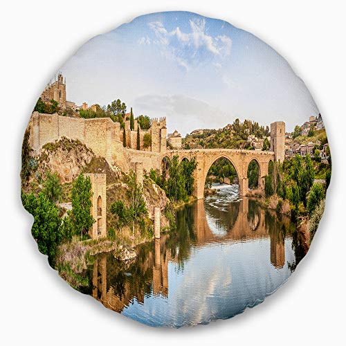 Designart CU7055-16-16-C Toledo Bridge in Spain Landscape' Photography Throw Cushion Pillow Cover for Living Room, Sofa, 16'' Round, Pillow Insert + Cushion Cover Printed on Both Side by Designart