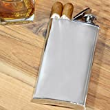ATW Products Stainless Steel Flask with Built-in Cigar Case, 4 oz