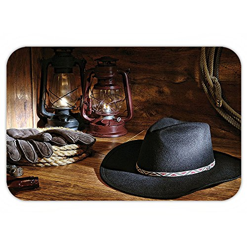 Felt Purple Star Wand (Kisscase Custom Door MatWestern Decor American Rodeo Equipment with Cowboy Felt Hat Ranching ToolLanternBlack and Brown)