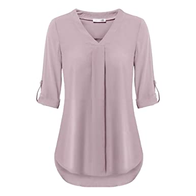 7a6836a066 Juqilu Women s Casual Blouse Long Sleeve Shirt Solid Color Pleated V ...