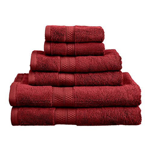 Blue Nile Mills 650 GSM Bamboo Cotton 6-Piece Bath Towel Set, Crimson Bamboo Solid Towel Set