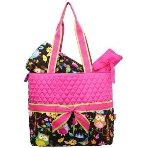 - Monogrammable Pink Quilted (3) Piece Diaper Bag with Ribbon Accents & Colorful Owl & Flower Print Bottom