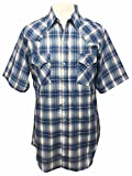 Ely Cattleman Short Sleeve Mens Plaid Snap Western Cowboy Style Shirt - Blue