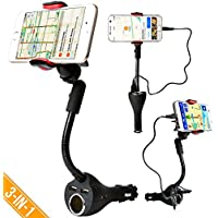 Car Mount, Alpatronix MX101 Universal Charging Dock Station with 2 USB Charger Ports, Cigarette Power Outlet, 360° Rotating Gooseneck Holder for iPhones, Samsung Galaxy & Other Smartphones - Black