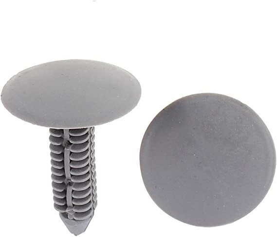 uxcell A15110400ux0112 100 x 7mm Hole Plastic Rivets Fastener Push Clips Gray for Car Auto Fender 100 Pack